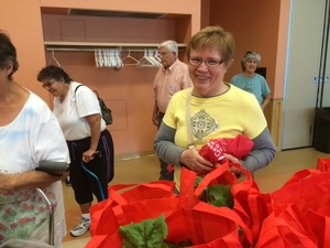 A woman smiling in front of Harvard Pilgrim bags full of vegetables, other seniors waiting in line in the back to pick up their farm share at the Northampton Senior Center.